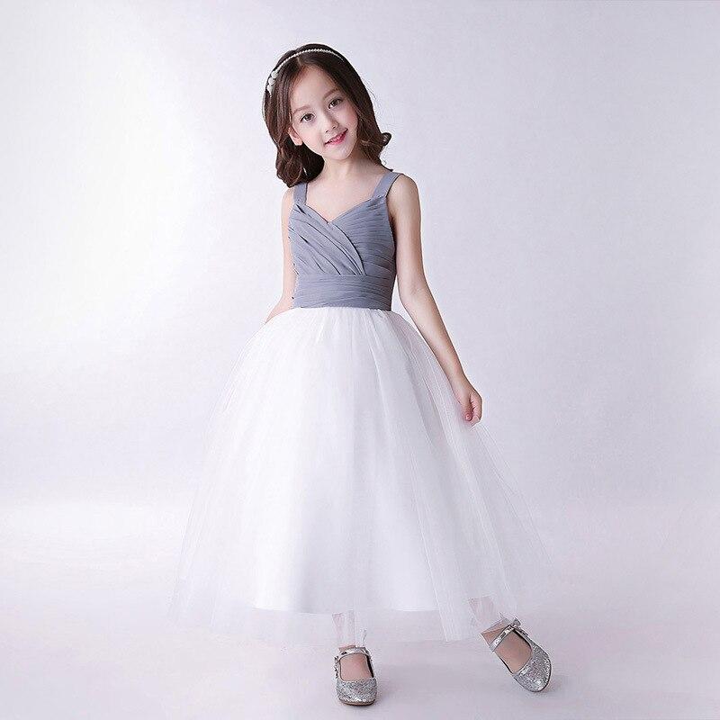 c29e0e6d0084 BBWOWLIN 4 10 Years Girls Dance Dress Gray + White Children Girls ...