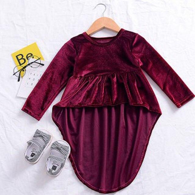 ba7b2a952fc Новое поступление милые детские Обувь для девочек малышей Вельветовое платье  с длинным рукавом осень верхняя одежда