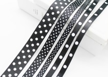 Black White Polka Dot Printed Grosgrain Satin Ribbons 1/4(6mm), 3/8(9mm), 5/8(16mm), 7/8(22mm),1-1/2(38mm) for DIY Presents