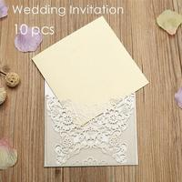 10Pcs Elegant Wedding Invitations Delicate Carved Flower Wedding Card Gifts Banquet Party Laser Cut Invites Supplies