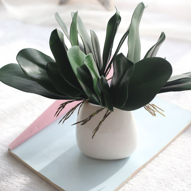1 шт. фаленопсис искусственное растение с листьями лист декоративные цветы вспомогательный материал цветочное украшение листья орхидеи