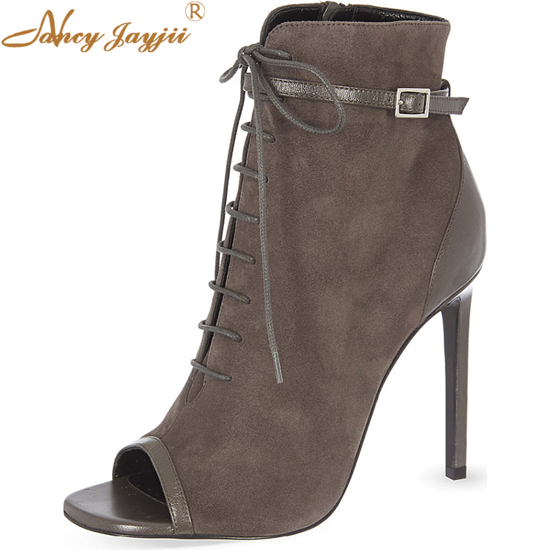 Summer Grey Peep Toe Ankle Boots Thin High Heels Casual Women Shoes Cross-Tied Handmade Lace-up Custom Sexy Ladies Size 16 kaeve blue denim lace up ankle boots fashion casual thin heels cross tied pumps round toe cowboy shoes jean snow boots