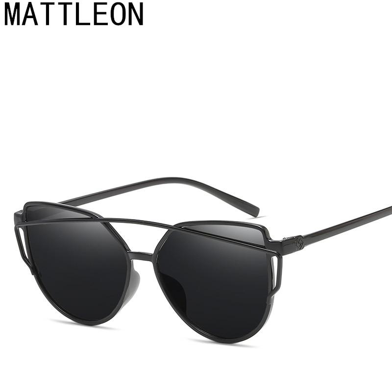 Sunglasses Women Female Twin-Beams Fashion-Brand Cat-Eye Retro UV400 Lens Flat-Panel