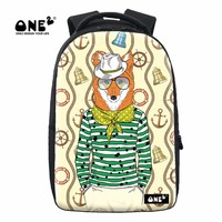 ONE2 2017 New Design schoolbag backpack fox animals printing canvas rucksack for school university student fashion cute backpack