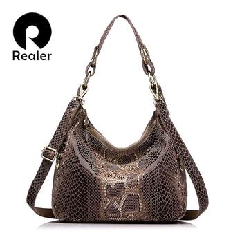 REALER brand women handbag genuine leather tote bag female classic serpentine prints shoulder bags ladies handbags messenger bag Сумка