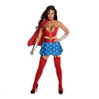 2017 Моды Удивительно Женщины Дамы Sexy Costume Fancy Dress Хеллоуин обычаи женщины supergirl костюмы Купальник С Мыса Шарф