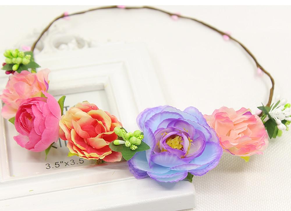 wedding romantic bohemian fabric flower hanfmade hairband bride  bridal vintage hair accessories princess wreath headwear