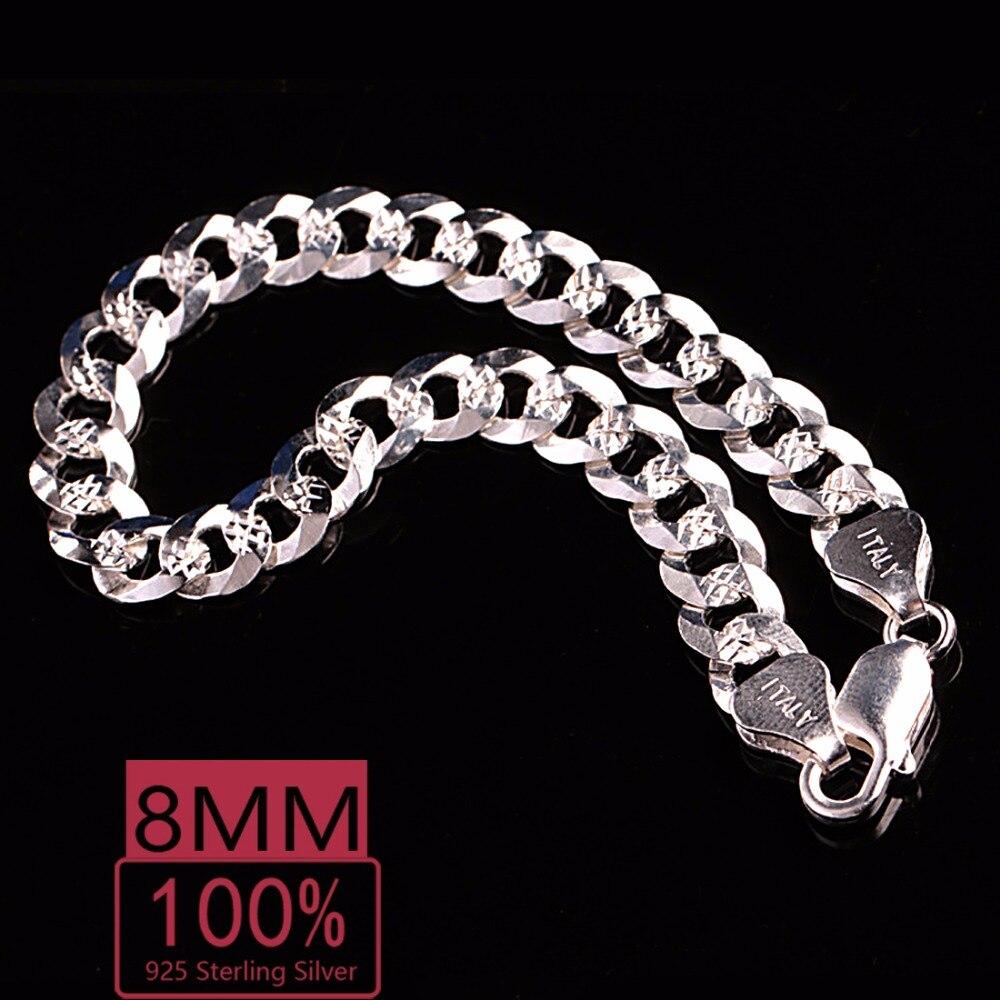 efa61fc4e67f € 69.5  KASANIER 1 piezas 100% S925 de plata esterlina de la pulsera de los  hombres de 8 MM pulsera de encanto brazaletes para hombres 925 pulseras ...