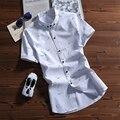 Verão Casual Camisas Dos Homens de Impressão de Manga Curta Maré Sólida Turn-down Collar Algodão Blusa Camisa Branca 085
