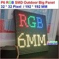Módulo p6 levou ao ar livre, cheio de cores de alto brilho de 6500 nits, 1/8 de digitalização, 32*32 pixel, 192mm * 192mm, ao ar livre rgb SMD 6mm LED painel