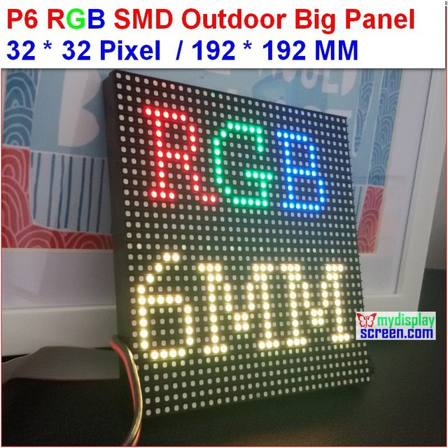 p6 outdoor led module,full color high brightness 6500 nits, 1/8 scan,32*32 pixel,192mm*192mm,rgb outdoor SMD 6mm LED Panel