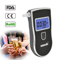 Patent Prefessional Police Digital Breath Alcohol Tester Breathalyzer 10 Mouthpieces With Russian User Manual