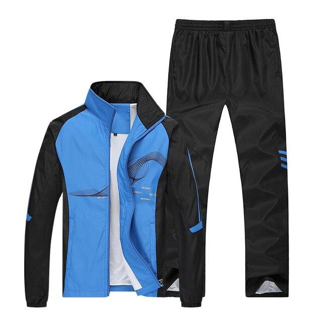 AmberHeard 2019 Bahar Marka Eşofman Erkek Spor Ceket + Pantolon Eşofman Iki Parçalı Set Erkek Kazak Spor Takım Elbise Giyim