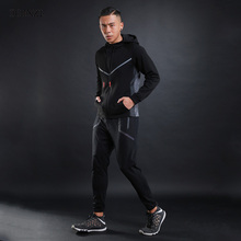 Фотография DLXZI Brand Spring&Autumn Male Sporting Suit Fashion Hoodies Jogger Sportswear Pocket Zipper Mens Tracksuit Set Sportsman Wear