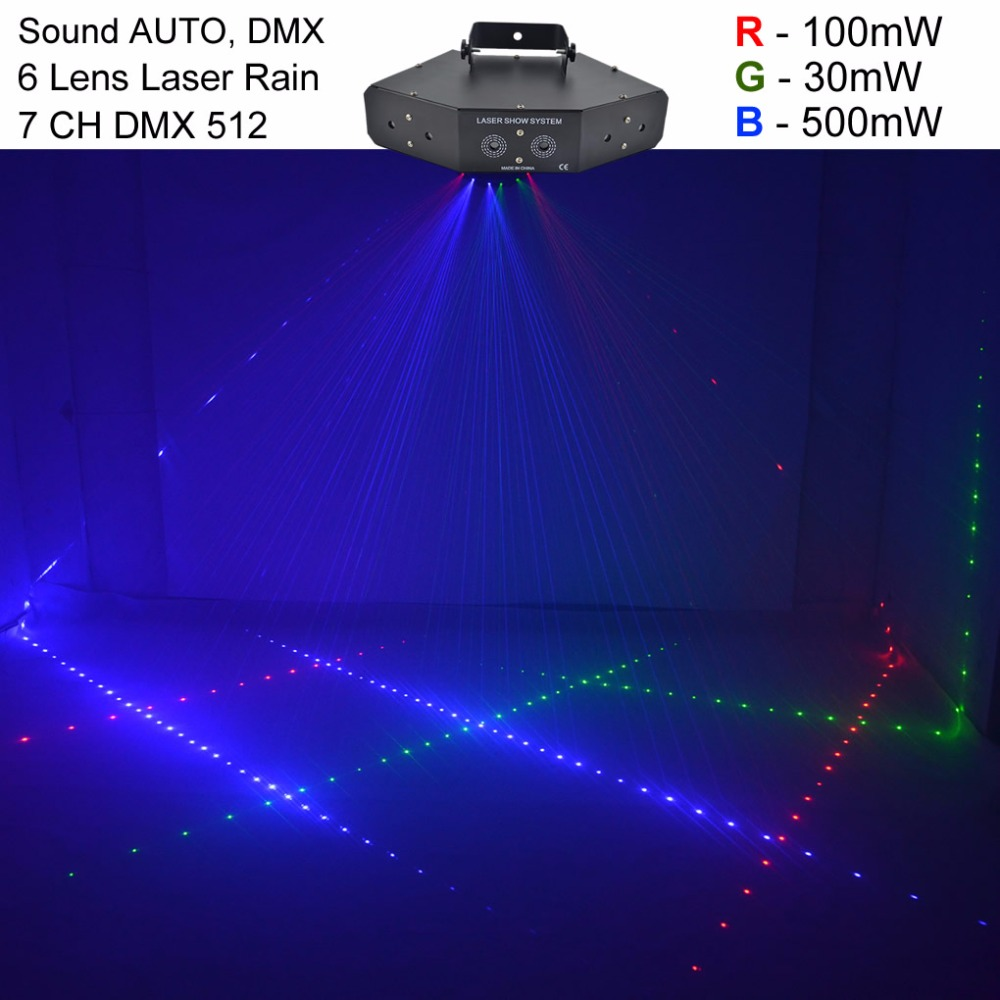 AUCD 6 Eyes 7CH DMX Sound Red Green Blue RGB Full Color Beam Laser Light Home Halloween Xmas Party DJ Show Stage Lighting Z6RGB конверт на выписку супермамкет на овчине justcute ученые совы бант