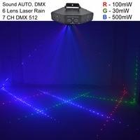 AUCD 6 Eyes 7CH DMX Sound Red Green Blue RGB Full Color Beam Laser Light Home Halloween Xmas Party DJ Show Stage Lighting Z6RGB