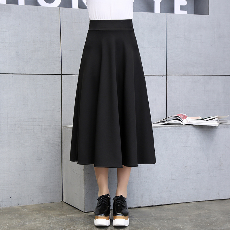 7e37d15605 2019 Spring New Arrival Korean Style Slim A line Black Skirt Fashion Faldas  Largas Elegantes Vintage Ladies Skirts Free Shippin-in Skirts from Women s  ...