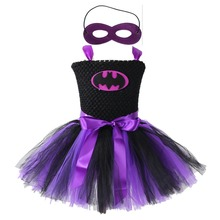 Black Purple Knee Length Super Hero Girls Dress Tutu Superhero Batman Pattern O-neck Sleeveless Dress Holloween Costume Vestido