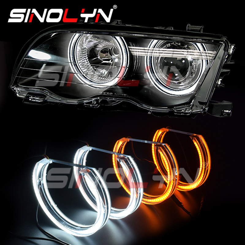 Angel Eyes LED Halo Crystal DTM Style 3D DRL White Yellow Light For BMW 3 Series E46 M3/E39/E36/E38 Headlight Accessories Tuning