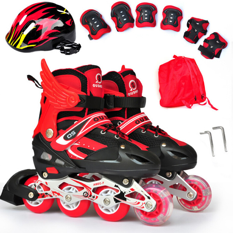 Adult Children Inline Skate Skating Shoes Helmet Protective Gear Sets Knee Protector Bag Adjustable Breathable PU wheels Patins new kids children professional inline skates skating shoes adjustable washable flash wheels sets helmet protector knee pads gear