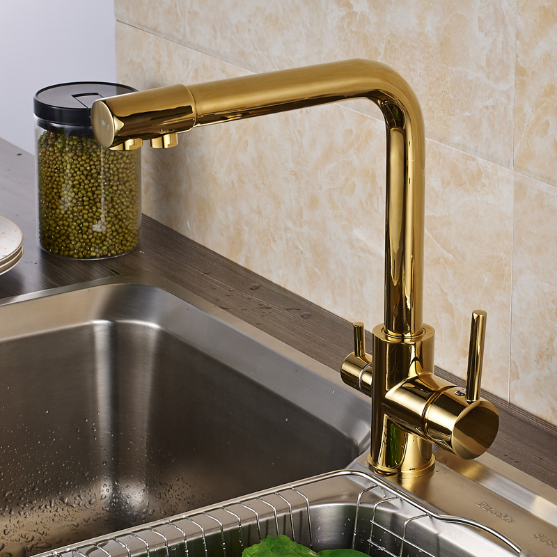 luxury gold solid brass kitchen sink faucet double handles pure water mixer tap drinking water tap. Interior Design Ideas. Home Design Ideas