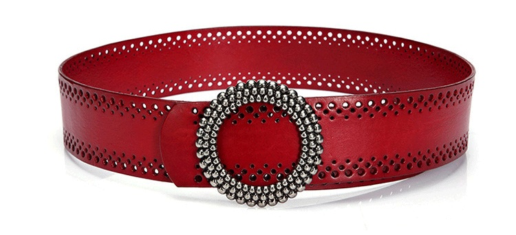 Neue Mode Frauen Breiten Gürtel Aus Echtem Leder Hohl Ohne Bohren Luxus  Jeans Gürtel Weibliche Top 6d74a38c8e