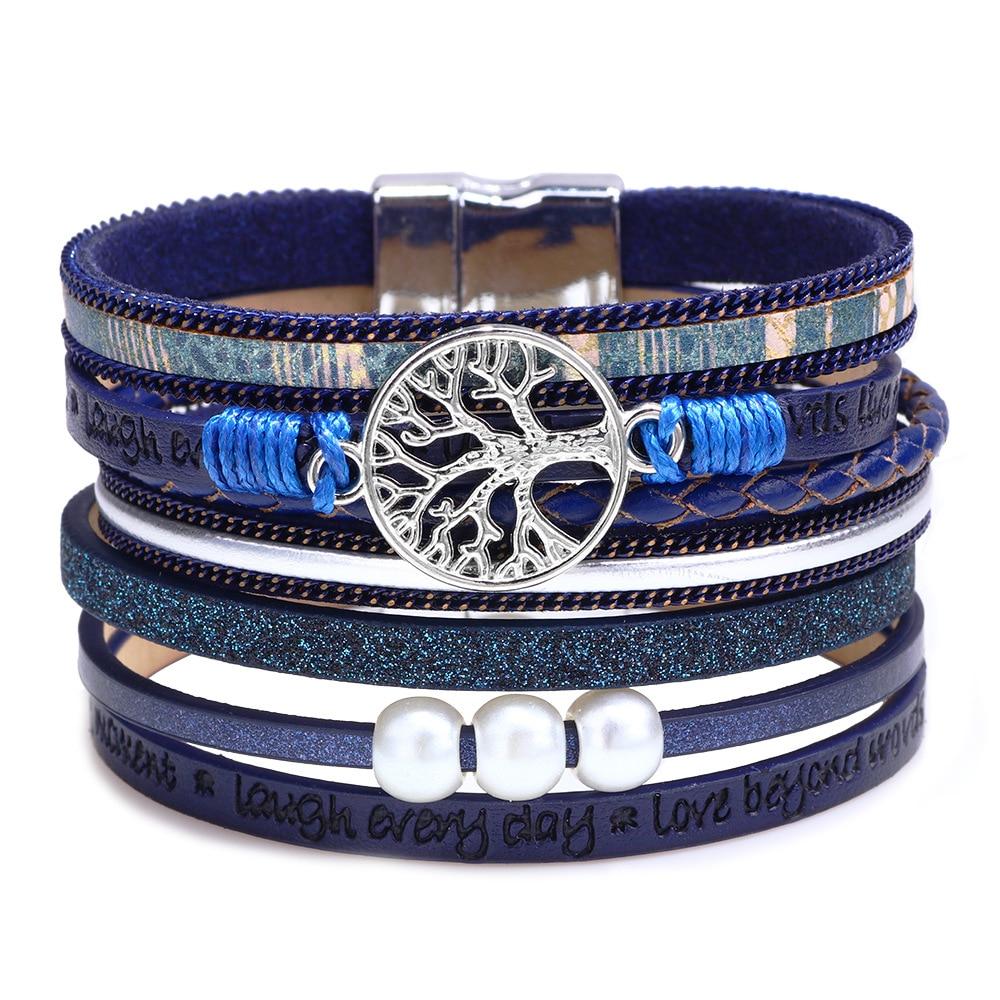 Kirykle-bracelet multicouche en cuir enveloppant pour femmes, bijoux à plusieurs couches, arbre de vie, style Boho, pour adolescents et garçons