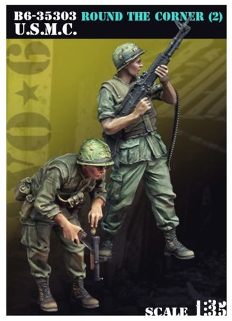 1/35  Round The Corner Two Standing Soldier     Toy Resin Model Miniature Kit Unassembly Unpainted