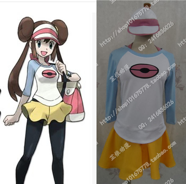 Free Shipping Pokemon Black and White Versions Pocket Monsters mei Cosplay Costume with hat pocket monsters 3d pikachu short cosplay wallet pokemon yellow cartoon students gift money bag with card holders free shipping