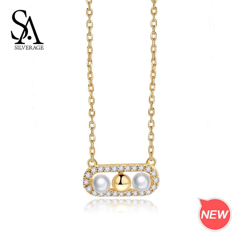 SA SILVERAGE 9K Yellow Gold Pendant Necklace for Women Shell Pearl Necklaces AAA Zirconia Chokers Necklaces For Women Lover a suit of chic heart arrow necklaces for lover