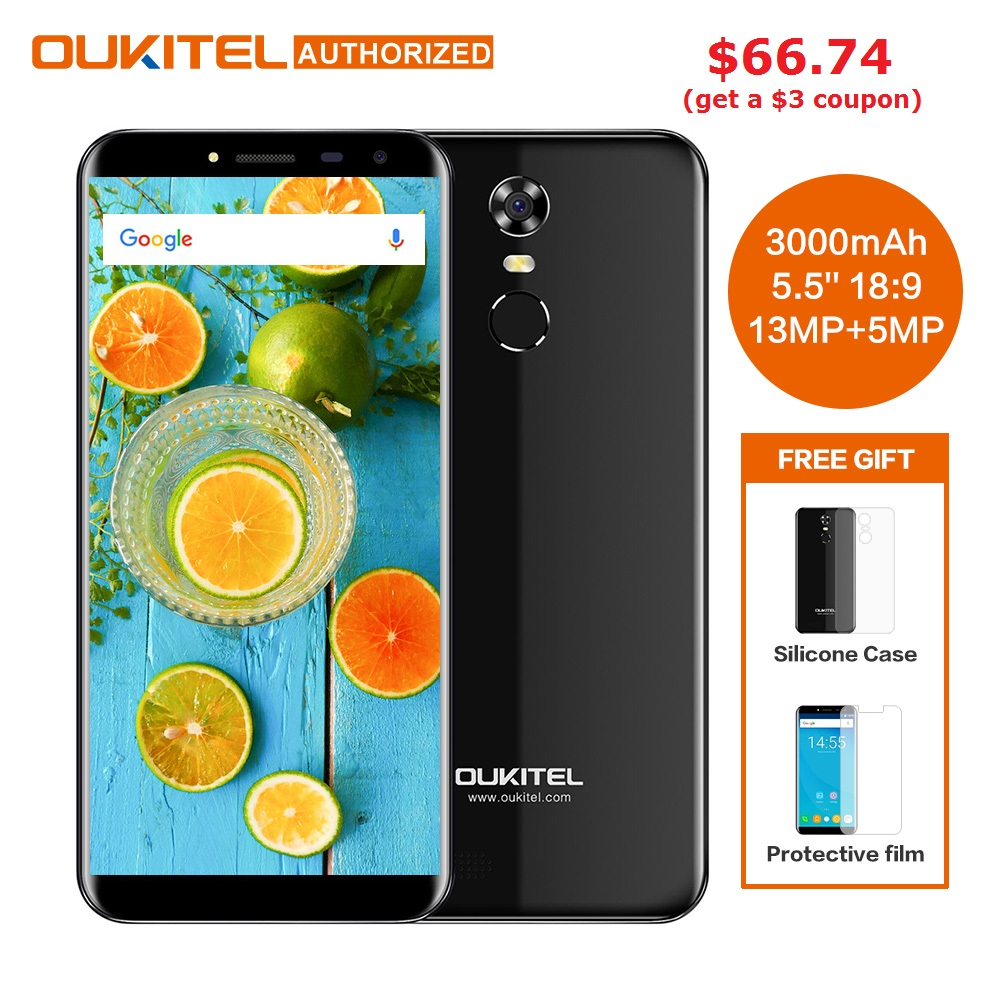 Oukitel C8 5,5 дюймов 18:9 HD Экран мобильного телефона MTK6580A 4 ядра 2 ГБ Оперативная память 16 ГБ Встроенная память 13MP Android 7,0 3000 мАч Touch ID телефона