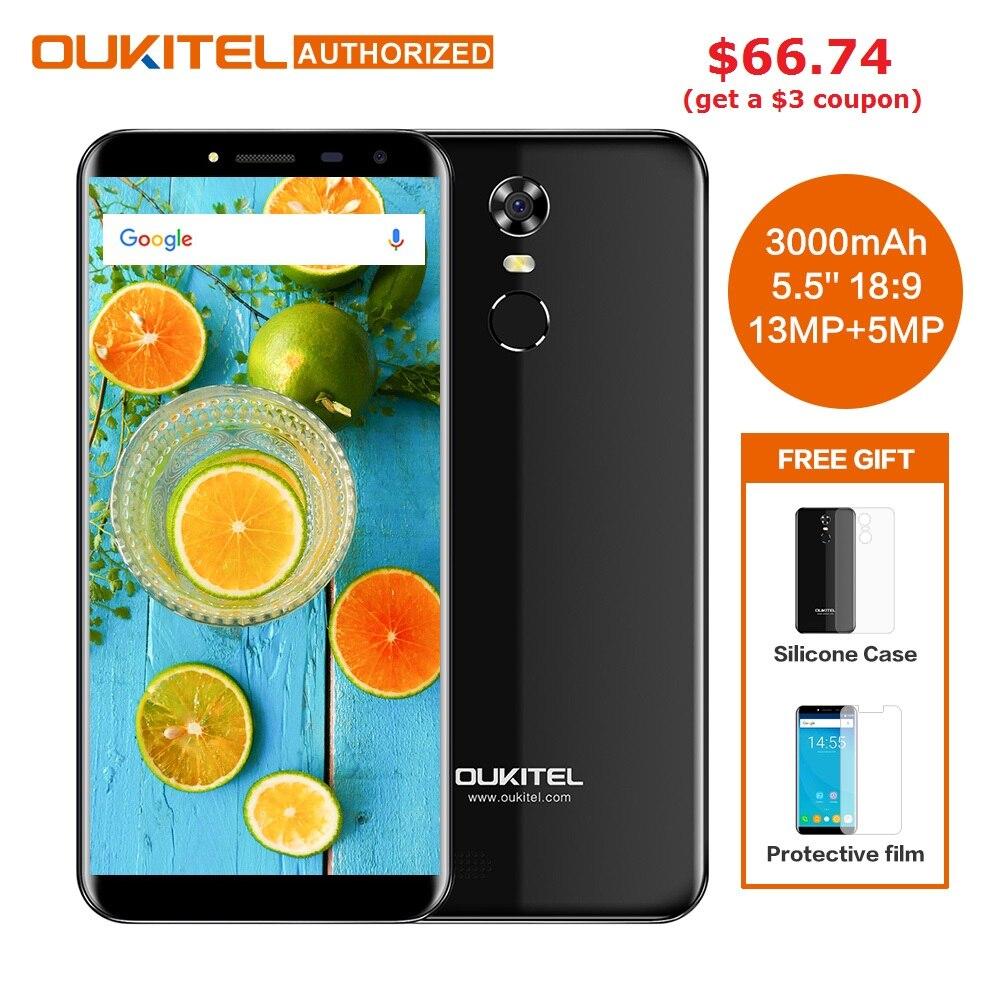 Oukitel C8 5.5 pouce 18:9 HD Écran Mobile Téléphone MTK6580A Quad Core 2 gb RAM 16 gb ROM 13MP Android 7.0 3000 mah Tactile ID Téléphone Portable