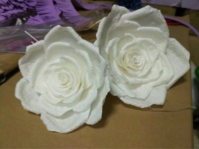 Aliexpress buy wedding props large artificial flower paper wedding props large artificial flower paper flowers wedding paper flower finished product white rose large paper mightylinksfo