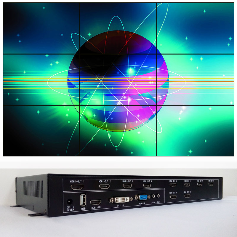 video wall processor for 3x3 video wall display dvi hdmi vga input 9 hdmi output