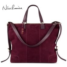 여자 진짜 분할 스웨이드 가죽 어깨 올려 놓 가방 패션 여성 대형 레저 nubuck 캐주얼 핸드백 여행 탑 핸들 가방