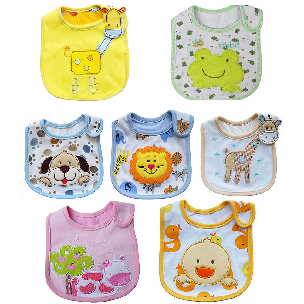 Cotton Flower Baby Bibs Waterproof Apron Cartoon Toddler Dinner Saliva Towels