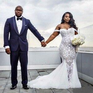 Image 3 - PLUSขนาดแต่งงานชุดเมอร์เมด 2020 ปิดไหล่ลูกไม้แอฟริกันApplique Vestido De Novia