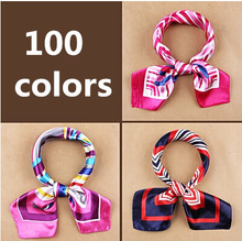 New fashion women's Work wear silk scarf print satin square scarf hotel bank work wear scarf 60*60cm 100 colors