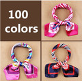 New fashion women's Work wear silk scarf print satin square scarf hotel bank work wear scarf 60*60cm 100 colors