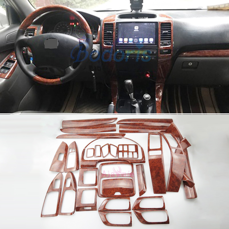 28 pcs Interior Wooden Color Trim Panel Cover Package 2003-2009 Car Styling For <font><b>Toyota</b></font> Land Cruiser 120 <font><b>Prado</b></font> <font><b>FJ120</b></font> <font><b>Accessories</b></font> image