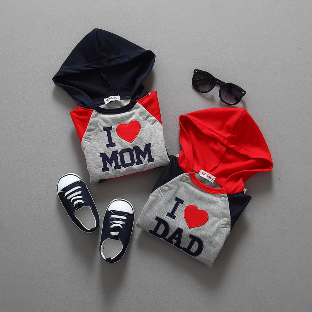 2015 New I Love Mom And Dad Hooded Children Jumpsuit Babies Clothing Kids Romper New Cotton Clothes CL0737 alfie and dad