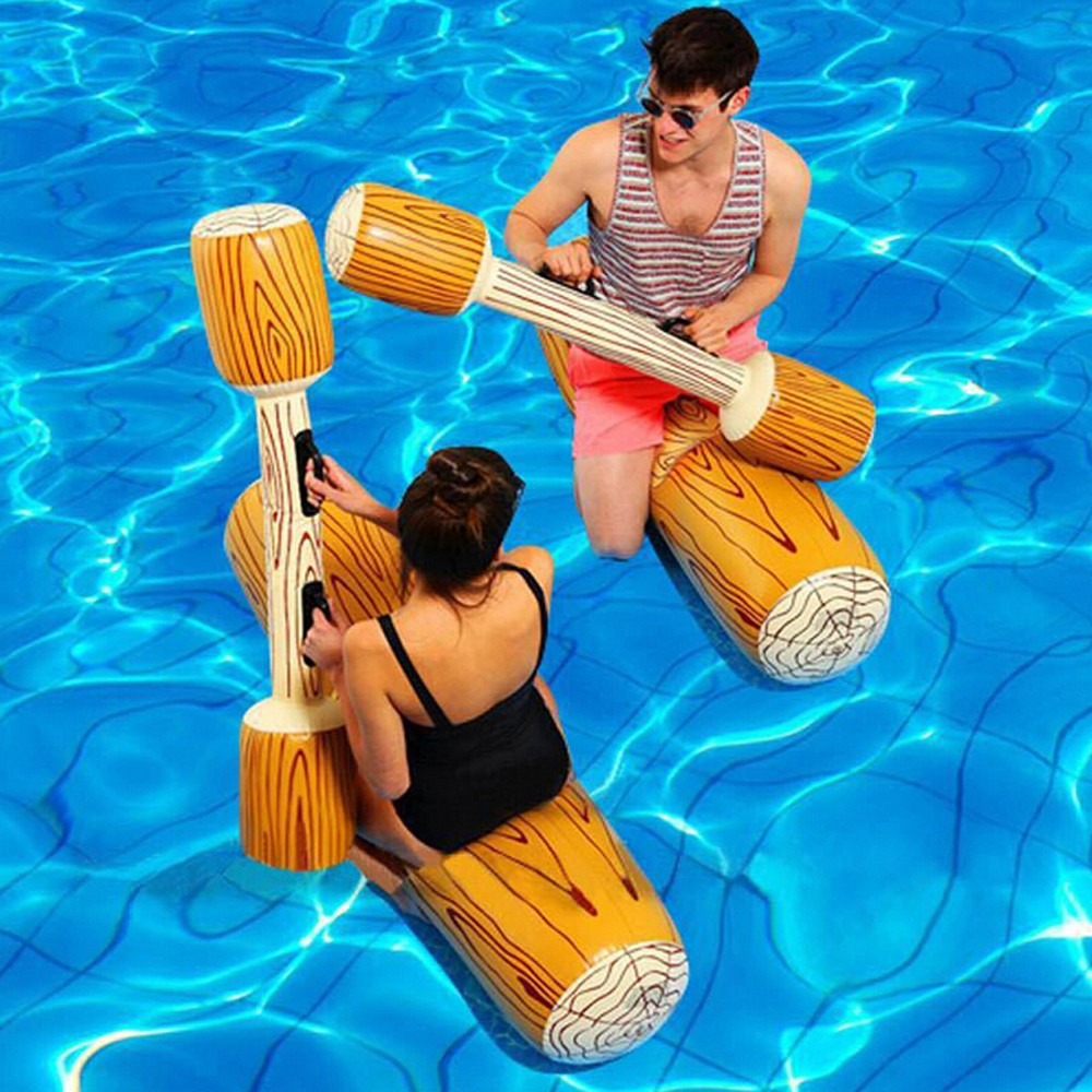 New Cute Summer Outdoor Beach Pool Inflatable Double Beat Swim Log Stick Set Wholesale And Drop Shipping