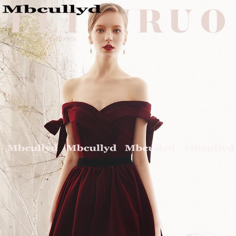 Mbcully Sexy Backless Burgundy Prom vestidos largo 2019 de hombro terciopelo negro chicas Formal noche fiesta vestidos vestido de gala - 3