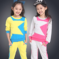 Female Child Spring Set 2016 Children's Clothing Sets Spring/Autumn Kids Casual Sports Twinset Size 110-160cm Girls Sets