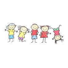 Забавная Милая семейная детская мультяшная наклейка для мальчиков и девочек, наклейка на окно, украшение для дома