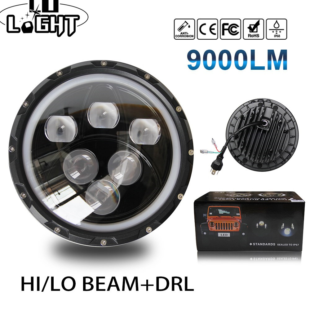 CO LIGHT 7 inch LED Headlights 60W 30W Angel Eyes 6000K Hi/Lo Beam Halo DRL for Jeep Wrangler JK TJ LJ Harley Davidson 12V 24V 7 inch 120w 9000 lumen hi lo beam led headlights with half top halo ring angel eyes drl turn signal for jeep wrangler jk tj lj