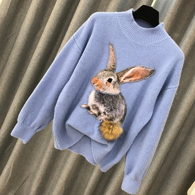 Beading Rabbit Fur Tail Sweater 3