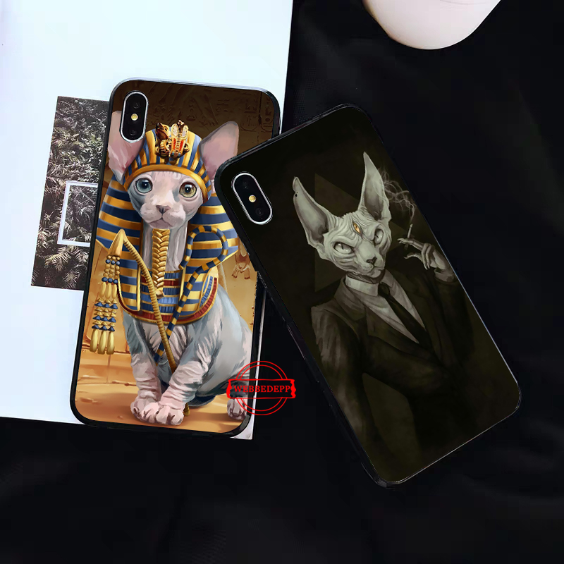 WEBBEDEPP Tattoo Sphinx Cat Silicone soft Case for iPhone 5 SE 5S 6 6S Plus 7 8 X XS Max XR in Fitted Cases from Cellphones Telecommunications
