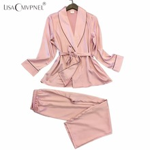 Lisacmvpnel Pijama de estilo largo para mujer, suave y transpirable, de rayón, conjunto de pijama informal para mujer, ropa de hogar para mujer