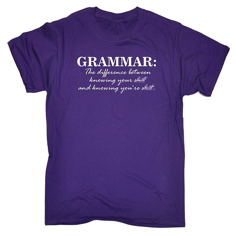 Cool T Shirt Companies Grammar Knowing YouRe S Crew Neck Men Short Sleeve Compression Shirts
